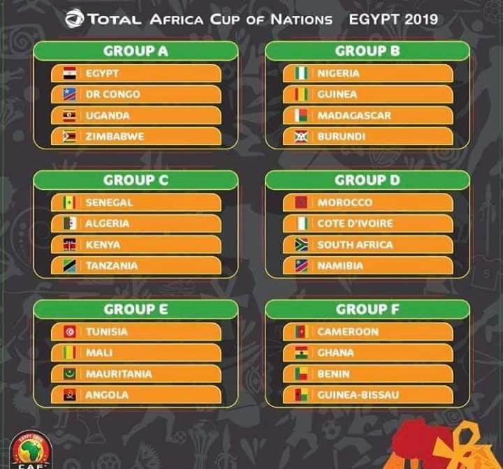 Calendrier de la coupe d'Afrique des Nations (Can) 2019 1