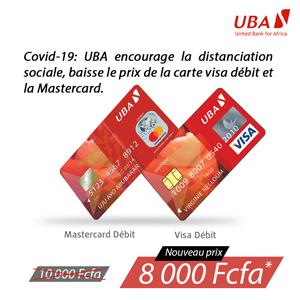 Covid-19 : UBA encourage la distanciation sociale, baisse le prix de la carte visa débit et la Mastercard 1