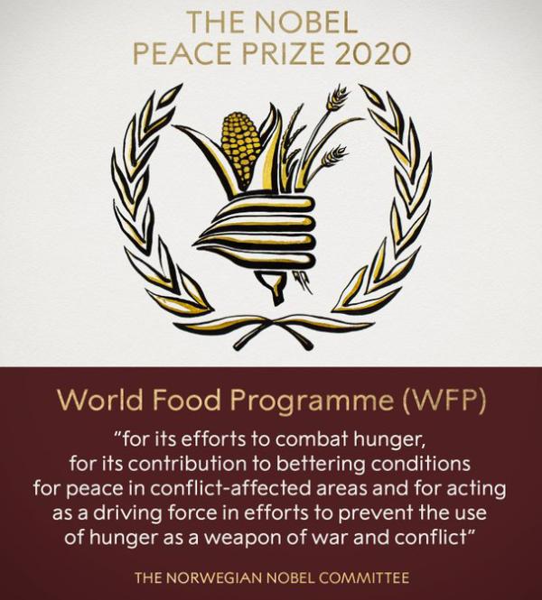 Le prix Nobel de la Paix 2020 décerné au Pam
