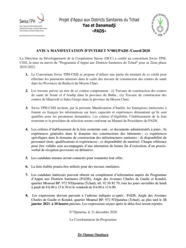 Avis de manifestation d'intérêt no 001/PADS/Coord/2020