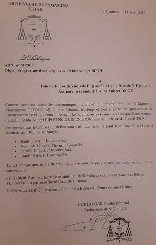 Programme officiel des obsèques de l'Abbé Dipou