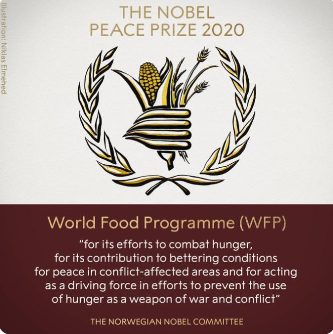 Le prix Nobel de la Paix 2020 décerné au Pam 1