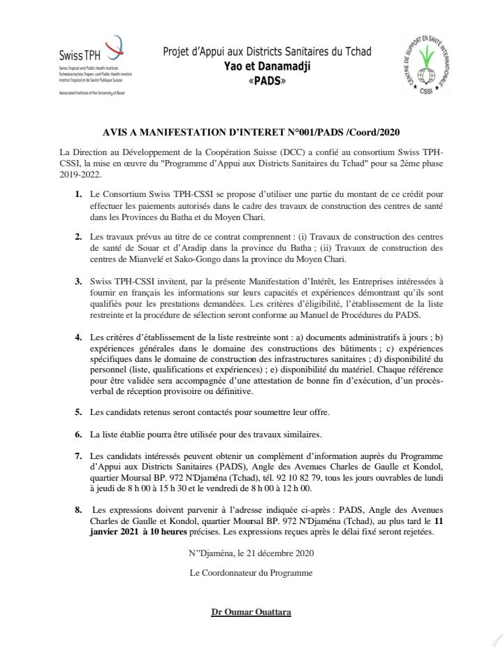Avis de manifestation d'intérêt no 001/PADS/Coord/2020 1